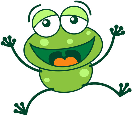 Cute green frog with bulging eyes and long legs while jumping high and stretching its arms and legs as for celebrating something