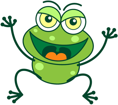 perturbing: Cute green frog with bulging eyes and long legs while smiling, frowning, jumping, raising its arms and showing a mischievous attitude