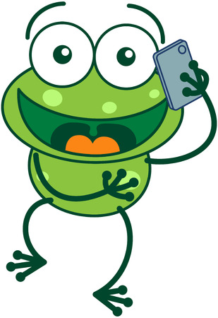 frog cartoon: Cute green frog with bulging eyes and long legs while talking on a smartphone with great enthusiasm