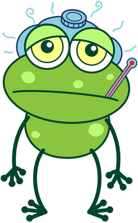 bulging eyes: Cute green frog with sad bulging eyes and long legs while showing a thermometer in its mouth, an ice pack above its head and feeling sick Illustration