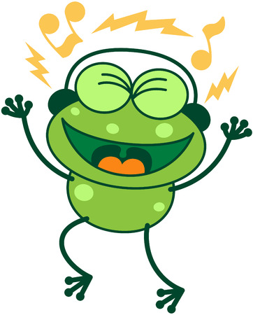 clenching: Cute green frog with long legs while clenching its bulging eyes, smiling, having fun and listening to music thanks to its headphones