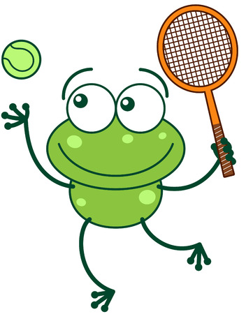 leggy: Cute green frog with bulging eyes and long legs while preparing to hit a tennis ball with a racket as for serving