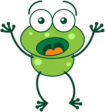 bulging eyes: Carino rana verde con occhi sporgenti e le lunghe gambe mentre ampiamente aprendo gli occhi, alzando le braccia e mostrando la sorpresa e la paura
