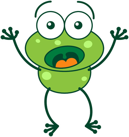 bulging: Cute green frog with bulging eyes and long legs while widely opening its eyes, raising its arms and showing surprise and fear