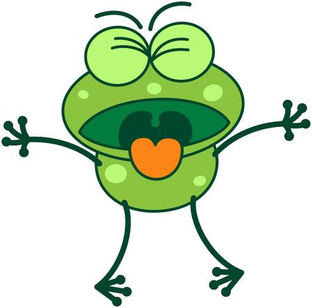 bulging eyes: Carino rana verde con le gambe lunghe, mentre stringendo gli occhi sporgenti e mostrando uno stato d'animo disgustato aprendo la bocca e si conficca la lingua fuori come per vomitare qualcosa