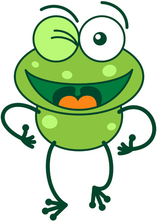 leggy: Cute green frog with bulging eyes and long legs while winking and making thumbs up hand gestures