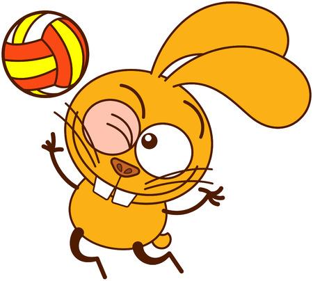 volleyball serve: Conejito amarillo lindo en estilo minimalista con grandes orejas, ojos saltones y dientes enormes, gui�ando un ojo, mirando a la pelota y salto alto para servir mientras jugaba voleibol Vectores
