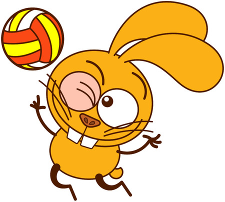 Cute yellow bunny in minimalistic style with big ears, bulging eyes and huge teeth, winking, staring at the ball and jumping high to serve while playing volleyball