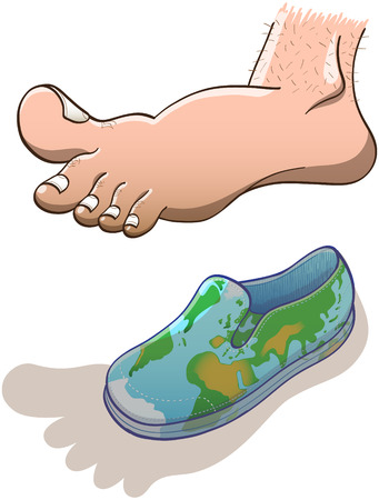 hovering: Oversize barefoot projecting a big shadow and hovering over a small canvas shoe decorated with a green and blue world map Illustration