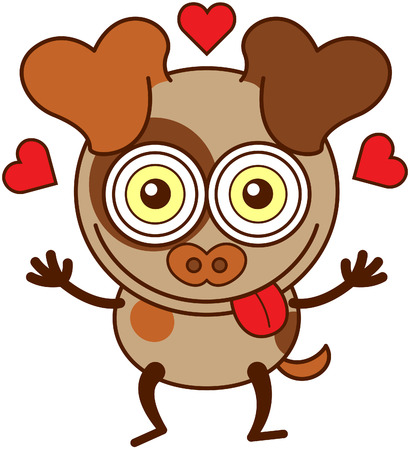 madly: Cute little dog with big ears, funny bulging eyes, brown spots and short tail while smiling, raising its arms, sticking its tongue out, showing red hearts around its head and feeling madly in love
