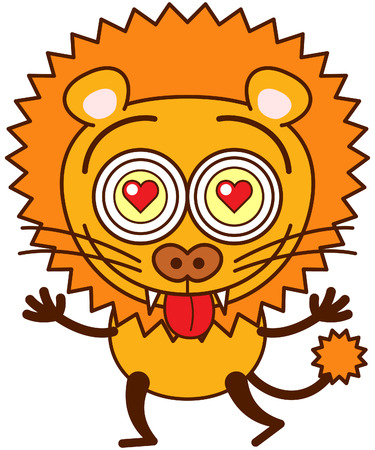 Brave lion with big mane, funny bulging eyes, sharp teeth and long tail while showing red hearts in its eyes, stretching its arms, sticking its tongue out and feeling madly in love
