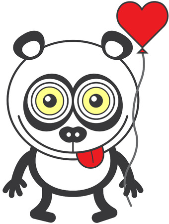 Weird panda bear with funny bulging eyes while staring at you, smiling, sticking its tongue out, holding a red heart balloon and feeling madly in love Illustration