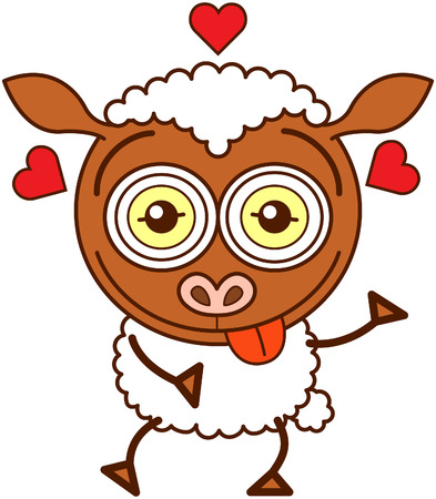 Cute brown sheep with long ears, funny bulging eyes and covered with white wool while sticking its tongue out, showing red hearts around its head and feeling lucky in love Illustration