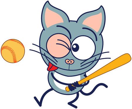 Gato gris lindo en estilo minimalista con orejas puntiagudas y ojos saltones larga cola mientras gui�o firmemente agarrar el bate y mirando a la pelota que estar listo para golpearlo