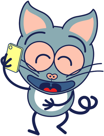 pointy: Cute gray cat in minimalistic style with pointy ears bulging eyes and long tail while talking animatedly on a smartphone Illustration