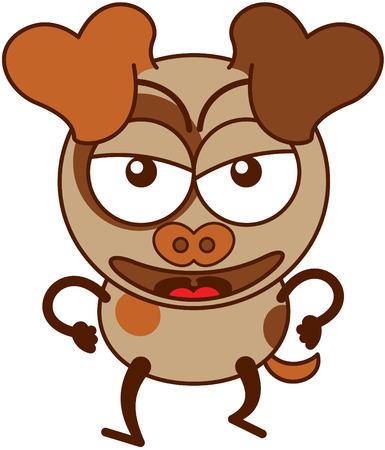 Büyük asılı kulaklar onun yumruklarını sıkıyor çatık yürürken gözleri ve sivri kuyruğu şişkin ve çok öfkeli bir ruh hali gösteren minimalist tarzda Sevimli kahverengi köpek