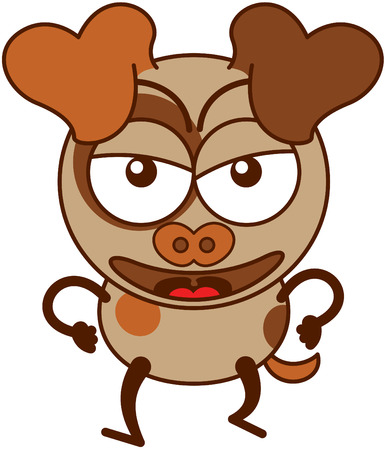 clenching: Cute brown dog in minimalistic style with big hanging ears bulging eyes and pointy tail while walking frowning clenching its fists and showing a very angry mood