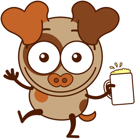 bulging: Cute brown dog in minimalistic style with big hanging ears and pointy tail while widely opening its bulging eyes raising its arms and holding a glass of frothy beer as for celebrating something Illustration