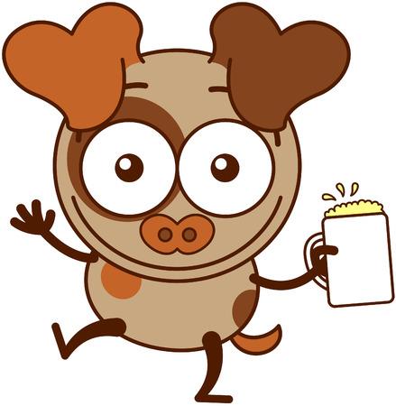 bulging eyes: Cute cane marrone in stile minimalista con le grandi orecchie e la coda a punta appesi mentre ampiamente aprire gli occhi sporgenti alzando le braccia e in possesso di un bicchiere di birra spumoso come per celebrare qualcosa