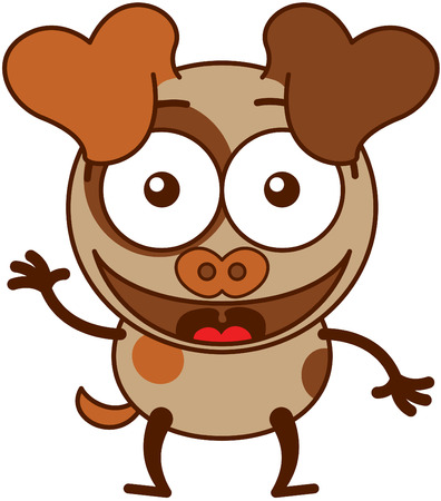 bulging: Cute brown dog in minimalistic style with big hanging ears bulging eyes and pointy tail while waving greeting and welcoming animatedly