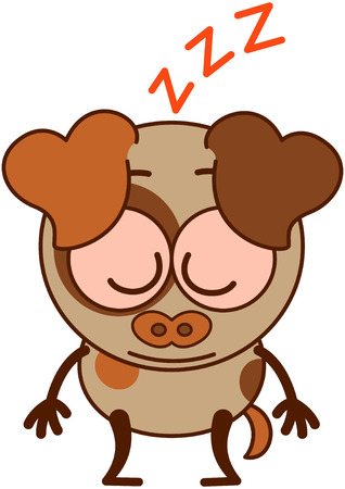 bulging: Cute brown dog in minimalistic style with big hanging ears bulging eyes and pointy tail sleeping placidly while standing up in a surprising and exhausted mood Illustration