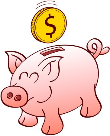 curly tail: Cute piggy bank with pointy ears flat snout and curly tail while smiling enthusiastically and waiting for a floating Dollar coin to be inserted into its slot Illustration