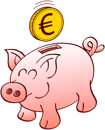 curly tail: Cute piggy bank with pointy ears flat snout and curly tail while smiling enthusiastically and waiting for a floating euro coin to be inserted into its slot