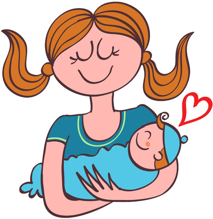 Happy young mother with brown hair and wearing a blue tee while smiling tenderly lovingly holding her baby boy with her arms and showing a red heart
