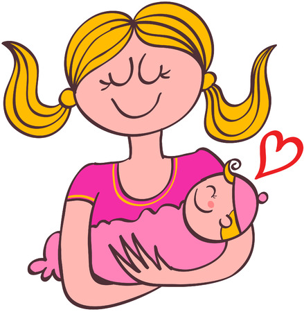 Happy blond young mother wearing a fuchsia tee while smiling tenderly lovingly holding her baby girl with her arms and showing a red heart Stock Illustratie