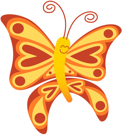 the antennae: Cute red and yellow butterfly with long curly antennae and beautiful wings decorated with balls and hearts while floating and smiling animatedly Illustration