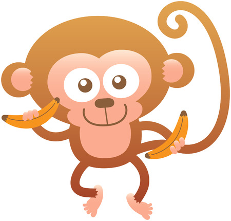 bulging: Cute baby monkey with big head rounded ears bulging eyes and long tail while posing holding bananas on its hands posing and smiling sweetly Illustration