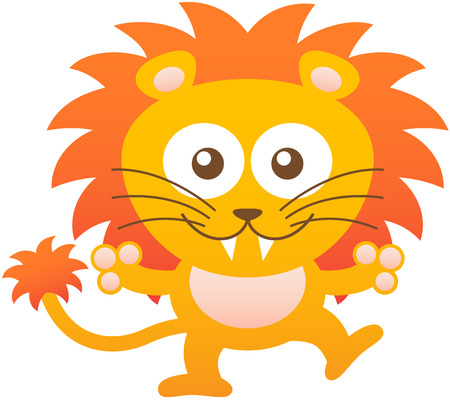 balancing: Cute yellow lion with bulging eyes sharp teeth long whiskers and orange mane while balancing its body opening its arms as for hugging someone and smiling enthusiastically