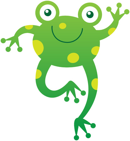leggy: Friendly baby frog with yellow spots bulging eyes and long hind legs while smiling enthusiastically and waving animatedly in a very sweet mood