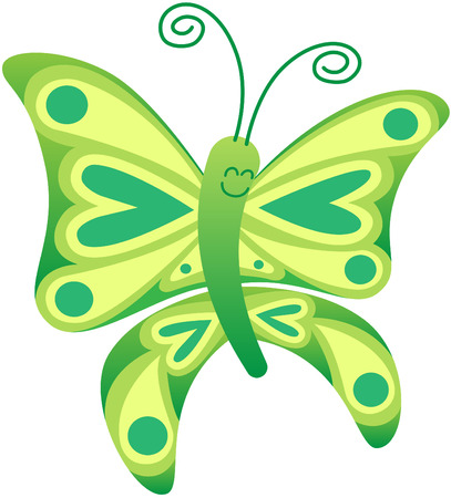 eager: Cute green butterfly with long curly antennae and beautiful wings decorated with balls and hearts while floating and smiling animatedly Illustration