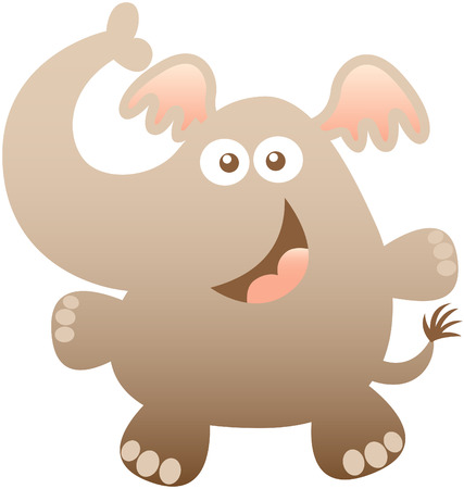 eager: Cute friendly elephant with bulging eyes a long trunk big ears and short legs while posing and smiling enthusiastically in a nice greeting attitude Illustration