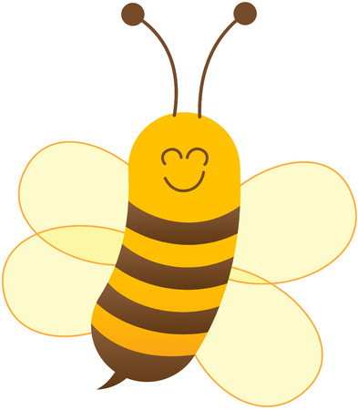 antennae: Cute baby bee with yellow body dark horizontal stripes and sharp sting while showing its pair of antennae smiling sweetly and floating animatedly thanks to its four wings