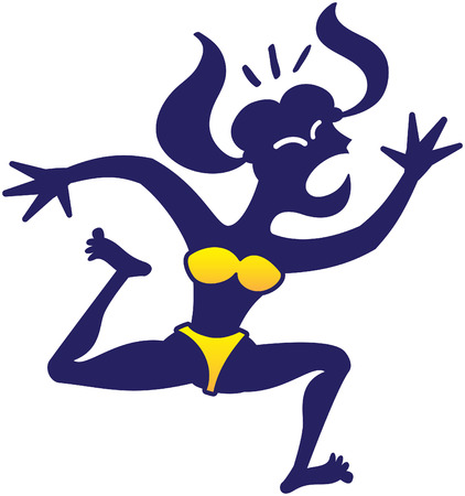 Silhouetted blue woman in a yellow bikini while looking scared, yelling nervously, asking for help and running away frenetically
