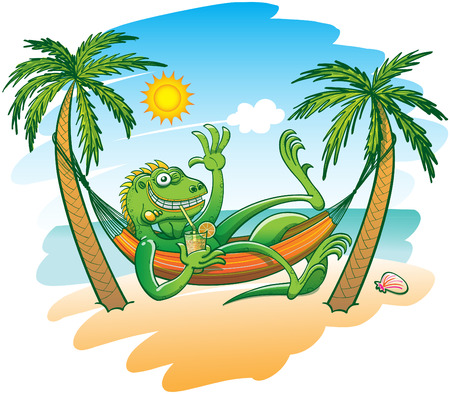 Green iguana smiling, waving, sunbathing, drinking a cocktail and resting under the palms in a hammock, in a sunny day on the sandy beach, with a blue sea and a limpid sky enjoying beautiful holidays Stock Illustratie