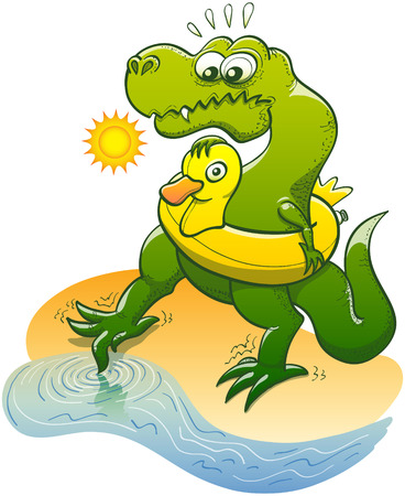 dipping: Green Tyrannosaurus Rex wearing an inflatable yellow ring shaped like a duck, shyly dipping the tip of its toe in the water to taste its temperature while feeling fearfully timorous in a sunny day