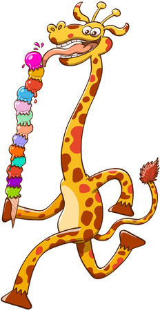 Cool giraffe with long neck and big smile while striding and eating voraciously a colorful tower of ice cream composed by thirteen balls in different flavors and in a very unsteady balance Illustration
