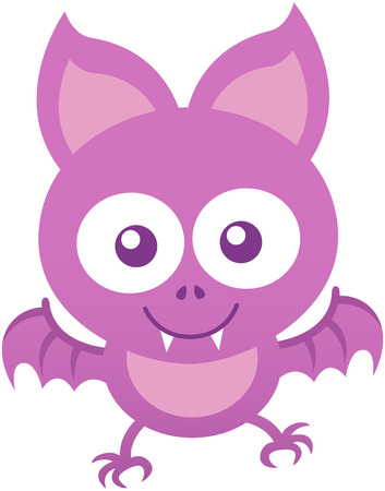 pointy ears: Cute baby bat with big pointy ears, purple fur, sharp teeth and small wings while staring at you, posing and smiling sweetly