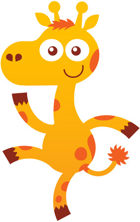 pointy ears: Lovely baby giraffe with yellow fur, orange spots, pointy ears, long ossicones, bulging eyes and playful mood while staring at you, raising a leg, dancing, waving enthusiastically and smiling sweetly
