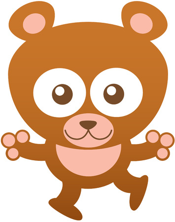 eager: Sweet baby bear with brown fur, rounded ears, bulging eyes and friendly attitude while staring at you, widely opening its arms and smiling shyly Illustration