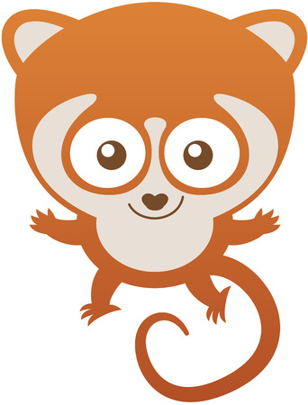 curly tail: Cute baby lemur with brown fur, long curly tail, bulging eyes and mischievous mood while staring at you, posing, greeting and smiling sweetly Illustration