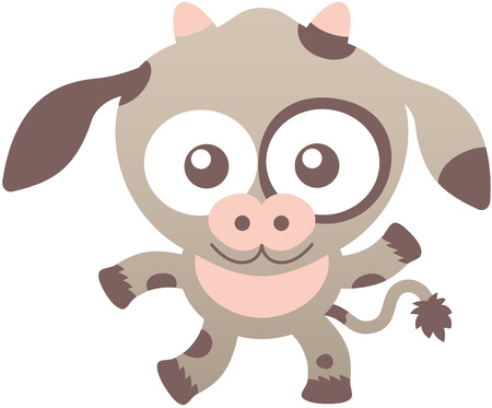playful: Lovely baby cow with light brown fur, long ears, wide muzzle, bulging eyes, small horns and playful mood while staring at you, waving enthusiastically and smiling sweetly Illustration