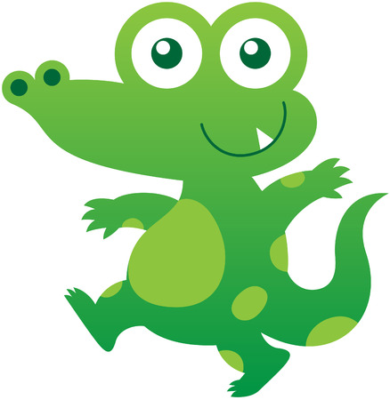 mischievous: Nice baby crocodile with green skin, pointy ears, bulging eyes, long tail, sharp tooth and mischievous mood while staring at you, walking energetically and smiling sweetly Illustration