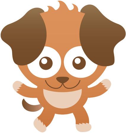 bulging eyes: Cane sveglio bambino con pelliccia marrone, grandi orecchie pendenti, occhi sporgenti e l'atteggiamento amichevole mentre ti fissano, ampiamente aprendo le braccia come per voi abbracciare e sorridendo dolcemente