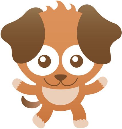 bulging: Cute baby dog with brown fur, big hanging ears, bulging eyes and friendly attitude while staring at you, widely opening its arms as for hugging you and smiling sweetly