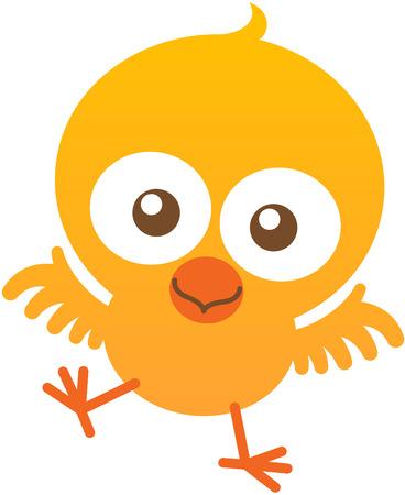 bulging eyes: Bella piccolo pulcino con piume gialle, occhi sporgenti, becco arancione, ali corte e l'atteggiamento giocoso mentre ti fissano, sbattere con entusiasmo e sorridendo dolcemente