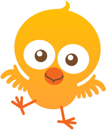 flapping: Lovely little chick with yellow feathers, bulging eyes, orange beak, short wings and playful attitude while staring at you, flapping enthusiastically and smiling sweetly Illustration